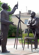 Monuments to K.E.Tsiolkovsky and S.P.Korolev in Kaluga. 2011, bronze